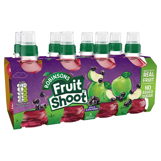Robs Fruit Shoot Apple And Blackcurrant No Added Sugar 8X200ml