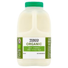 Tesco Organic British Semi Skimmed Milk 568Ml/1 Pint