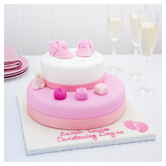 Cake Decorating Ideas Tesco : Easy Entertaining Pink Booties Christening Fruit Cake - Groceries - Tesco Groceries