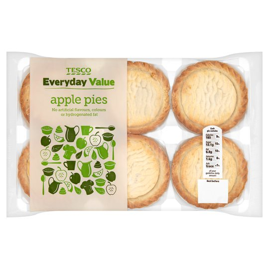Tesco Everyday Value Apple Pies 6 Pack
