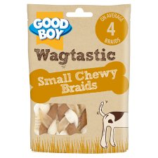 Wagtastic Small Chewy Chicken Braids Dog 4 Pack, 55G