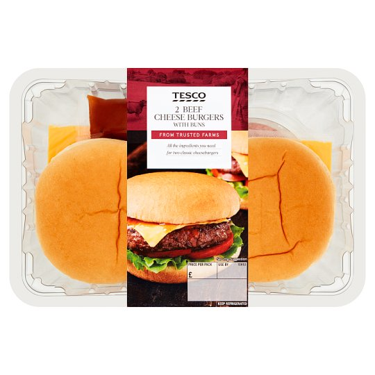 image 1 of Tesco Cheese Burgers In Buns 505G