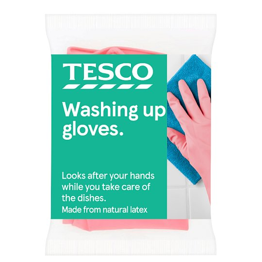Tesco Dishwashing Rubber Gloves Medium 1 Pair