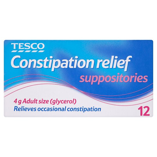 Tesco Constipation Suppositories Relief 12'S