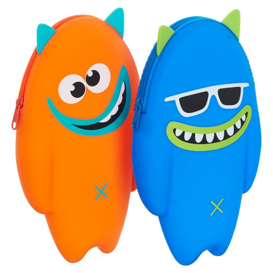Blue And Orange Silicone Monster Pencil Case Mix