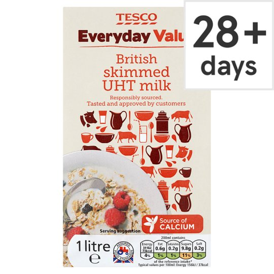 Tesco Everyday Value Skimmed Longlife Milk 1L
