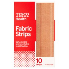 Tesco Fabric Dressing Strips 10'S 10 X 6 Cm