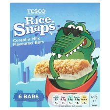 Tesco Rice Snaps Cereal And Milk 6 Bars 120G