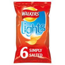Walkers Lights Simply Salted Crisps 6 X 24 G