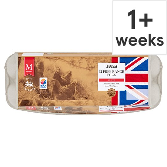 Tesco Free Range Eggs Medium Box Of 12