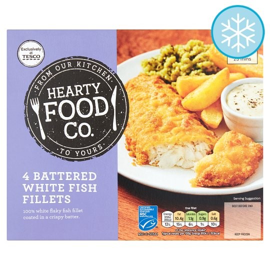 Hearty Food Co 4 Battered White Fish 500G