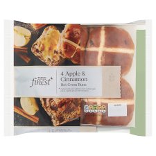 Tesco Finest 4 Apple And Cinnamon Hot Cross Buns