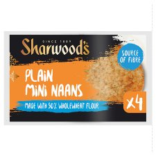 Sharwoods Plain Mini Naan Breads Whole Wheat 4 Pack 260G