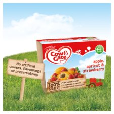 image 3 of Cow & Gate Apple Apricot And Strawberry Fruit Pot 4X100g 4 Mth+