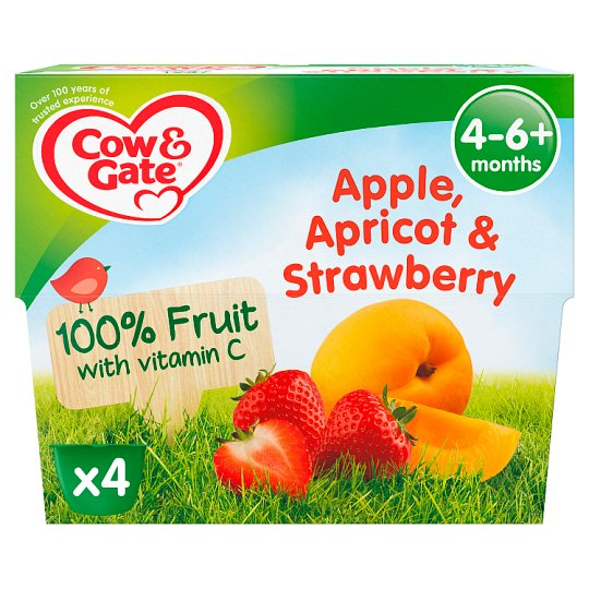 image 1 of Cow & Gate Apple Apricot And Strawberry Fruit Pot 4X100g 4 Mth+