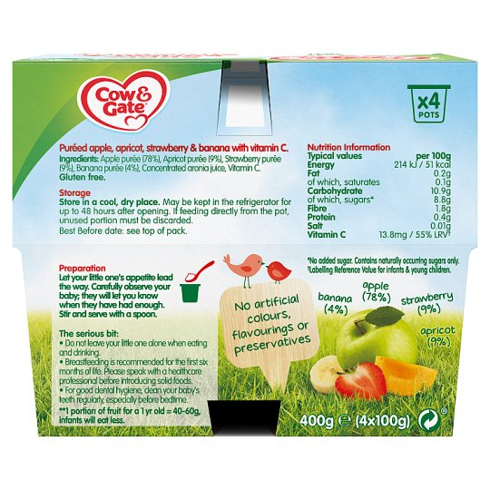 Cow & Gate Apple Apricot And Strawberry Fruit Pot 4X100g 4 Mth+