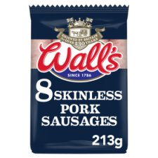 Walls Classic 8 Skinless Pork Sausages 213G