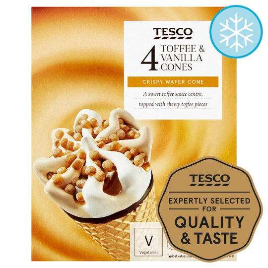 Tesco Toffee And Vanilla Cones 4 X 110Ml