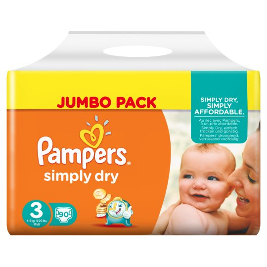 Pampers Simply Dry Size 3 Jumbo Pack 90 Nappies