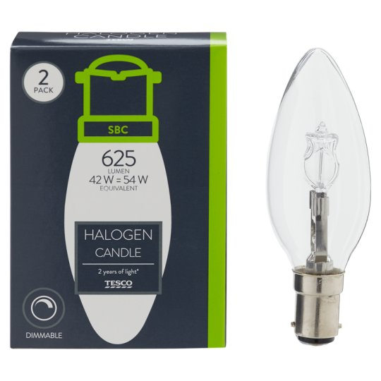 image 1 of Tesco Halogen 42W Candle Small Bayonet Cap 2 Pack