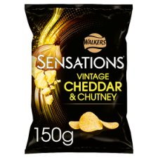 Sensations Vintage Cheddar And Red Onion Chutney Crisps 150 G