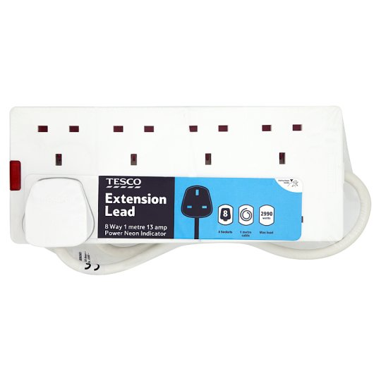 Tesco 8 Way 1M Extension Lead