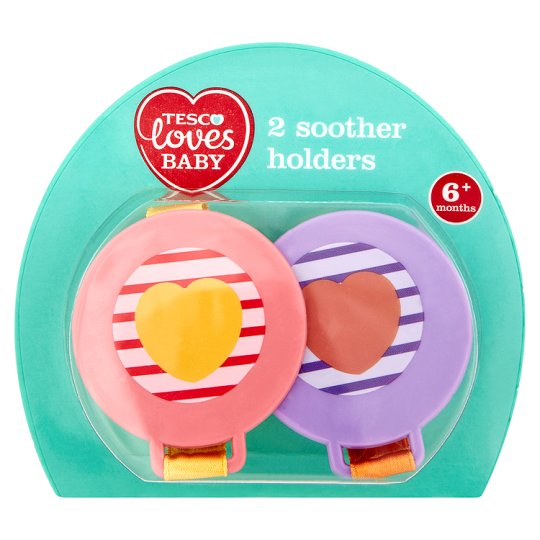 Tesco Loves Baby Soother Holders Pink 6-18 Month X2