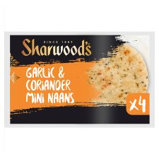Sharwoods Mini Garlic And Coriander Naan 4 Pack 160G
