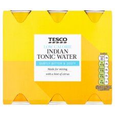 Tesco Low Calorie Indian Tonic Water Cans 6X250ml