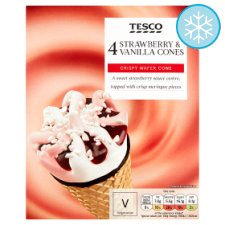 Tesco Strawberry And Vanilla Cones 4 X 110Ml
