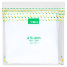 Koko Muslin Cloths White 3 Pack