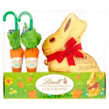 image 1 of Lindt Gold Milk Chocolate Easter Bunny And Carrot 140G