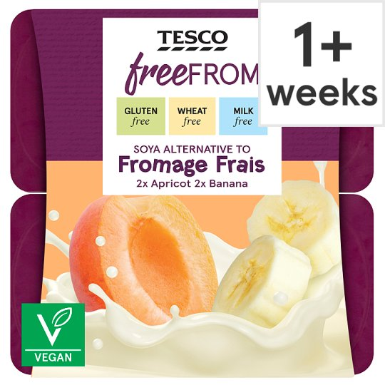 Tesco Free From Apricot And Banana Soya Yogurt 4X90g