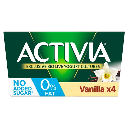 Activia 0% Fat Vanilla Yogurt 4 X125g