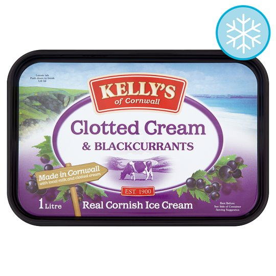 Kelly's Clotted Cream And Blackcurrant Ice Cream 1 Litre