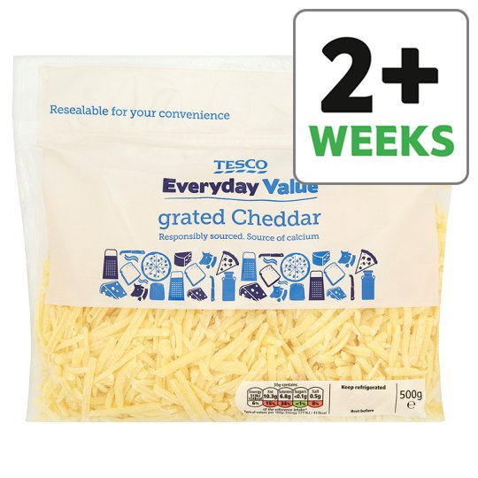 Tesco Everyday Value Grated Cheddar Cheese 500 G