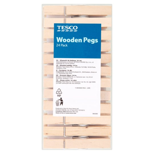 Tesco Wooden Storm Pegs 24 Pack