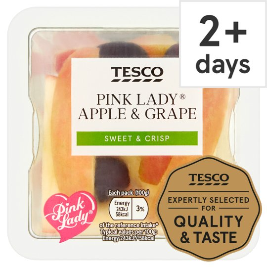 Tesco Pink Lady Apple And Grape Snack Pot 100G