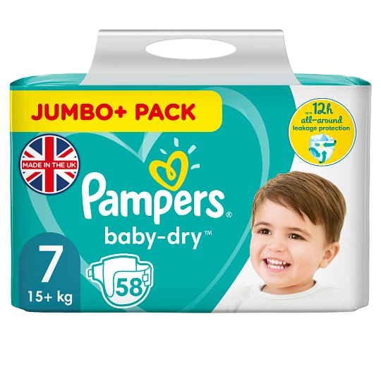 image 1 of Pampers Baby Dry Size 7 Jumbo+ Pack 58 Nappies