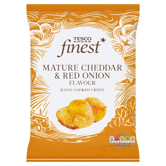 Tesco Finest Mature Cheddar And Onion Crisps 150 G