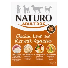 Naturo Chicken Lamb Rice And Vegetable Dog Food Tray 150G