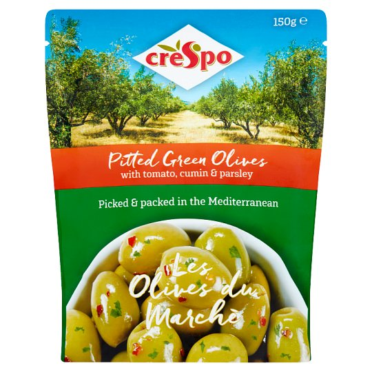 Crespo Pitted Green Olives Tomato Parsley 150G