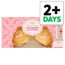 Tesco Fresh Cream And Strawberry Jam Scones 2 Pack