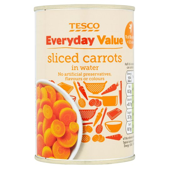Tesco Everyday Value Sliced Carrots 300G