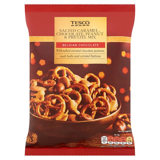 Tesco Salted Crml, Chocolate And Peanut Pretzel Mix 300G