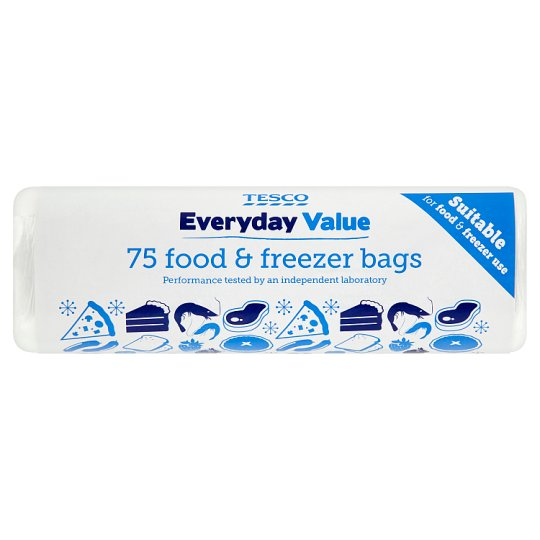 Tesco Everyday Value Food & Freezer Bags 75'S