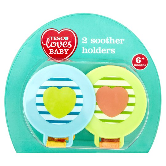 Tesco Loves Baby Soother Holders Blue 6-18Mth X2