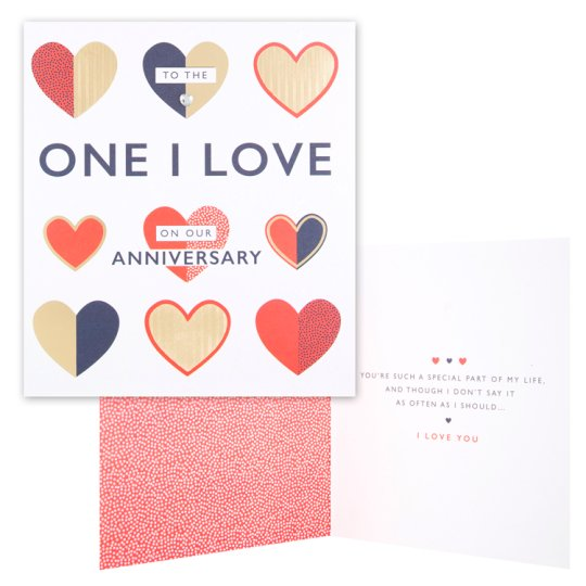 Tesco Anniversary Card To The One I Love On Our Anniversary