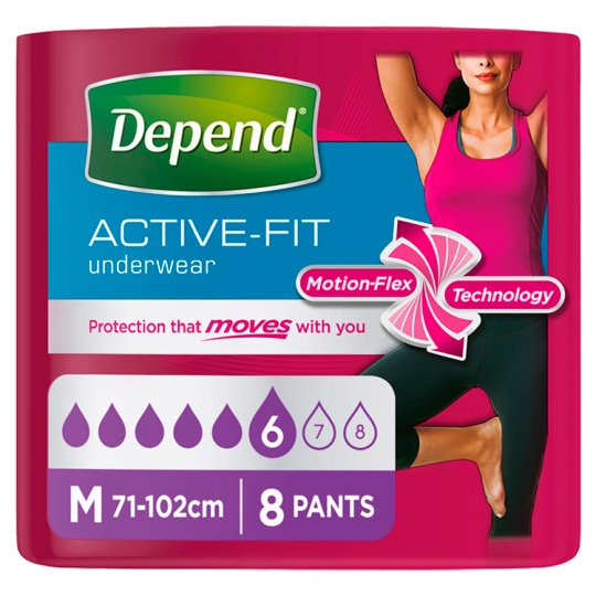 image 1 of Depend Active Fit Medium Incontinence Pants 8 Pack