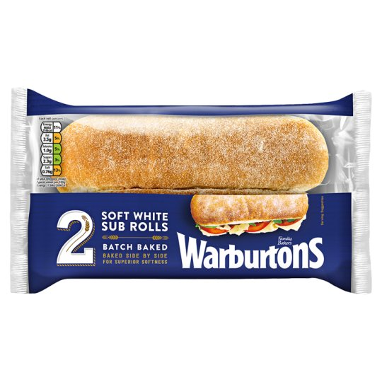 Warburtons White Batch Sub Rolls 2 Pack
